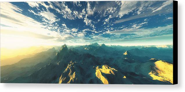 Mountains Canvas Print featuring the digital art Heavens Breath 16 by The Art of Marsha Charlebois