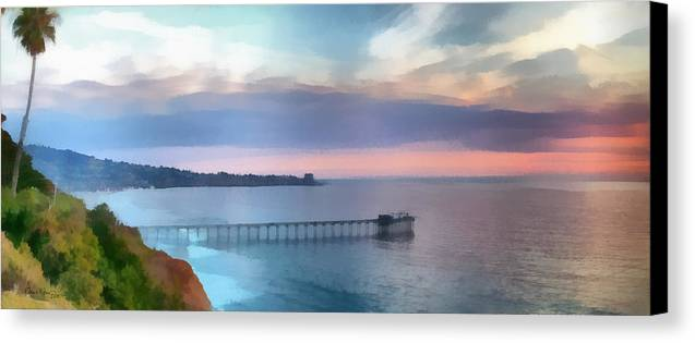 Pier; Scripps; Framed; Sunset; Tides; Waves; Rocks; Shelf; California; La Jolla; Coast; Sea; Ocean; Seascape; Clouds; Photographs; Paintings; Beach; Waves; Shoreline; Landscape; Aerial; Coastal; California; San Diego; La Jolla Beach Canvas Print featuring the painting La Jolla Scripps Pier by Russ Harris