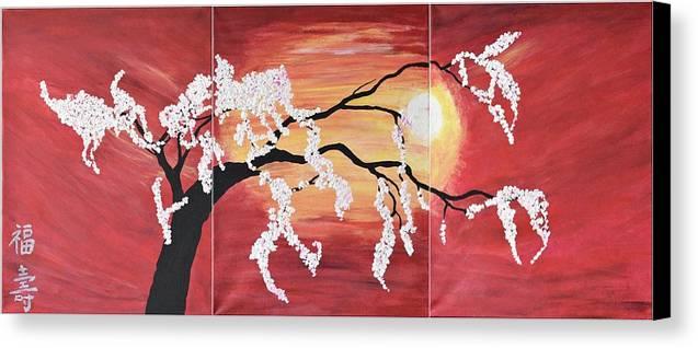 Oriental Art Cherry Blossoms Wall Art -red Sunset -modern Flower ...