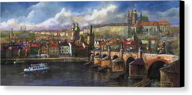 Pastel Canvas Print featuring the painting Prague Panorama Charles Bridge Prague Castle by Yuriy Shevchuk