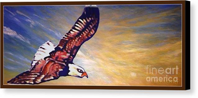 Bright Golden Orange Sunrise With Blue Skies And Wispy Light Clouds In The Background Bald Eagle Soaring In The Sky Native American Spiritual Symbolism Acrylic And Digital Nature Scene Bald Eagle Artwork Canvas Print featuring the painting The Eagle Or The Great Thunderbird Spirit In The Sky by Kimberlee Baxter