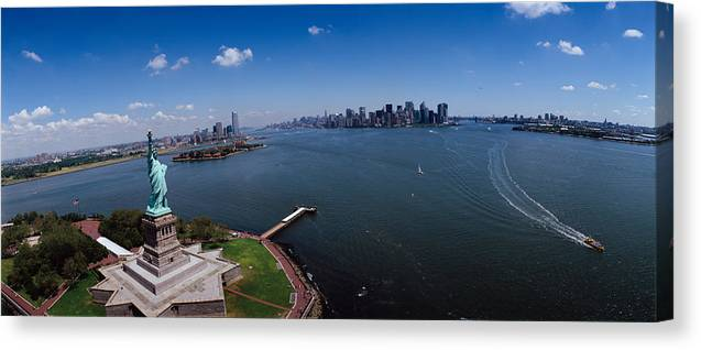 Photography Canvas Print featuring the photograph Aerial View Of A Statue, Statue by Panoramic Images
