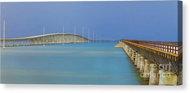 Florida Keys Canvas Print featuring the photograph The Old- And New 7 Mile Bridge by Hans- Juergen Leschmann