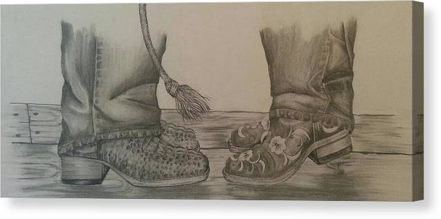 Boots Canvas Print featuring the drawing Two Step by Robyn Hoover