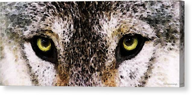 Wolf Canvas Print featuring the painting Wolf Eyes By Sharon Cummings by Sharon Cummings