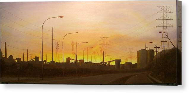 Landscape Canvas Print featuring the painting Early Start Port Kembla by Brett McGrath