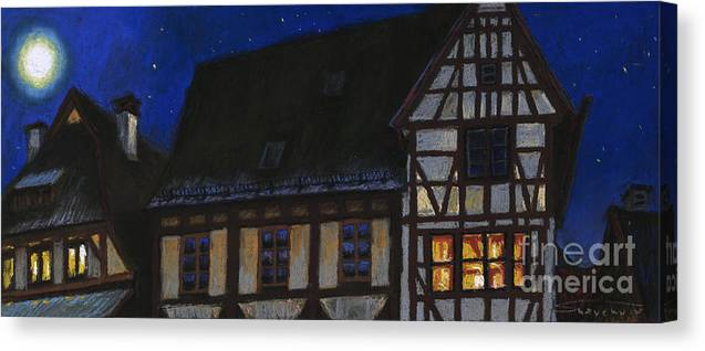 Pastel Canvas Print featuring the painting Germany Ulm Fischer Viertel Moonroofs by Yuriy Shevchuk
