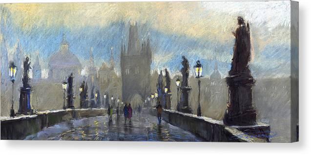 Pastel Canvas Print featuring the pastel Prague Charles Bridge 06 by Yuriy Shevchuk
