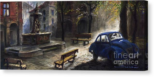 Prague Canvas Print featuring the painting Prague Old Fountain by Yuriy Shevchuk