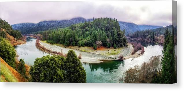River Canvas Print featuring the photograph Rogue River Bend Pano by Chris Sveen