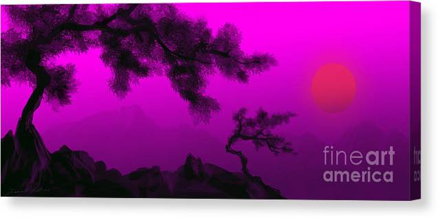 Japanese; Sunset; Mountains; Trees; Rising; Sun; Contemporary; Purple; Pink;sunrise; Sunset Canvas Print featuring the painting Serenity by James Christopher Hill