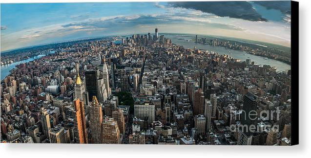Manhatten Canvas Print featuring the photograph New York From A Birds Eyes - Fisheye by Hannes Cmarits