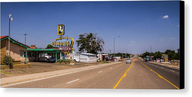 Route 66 Canvas Print featuring the photograph Palomino Motel by Angus Hooper Iii