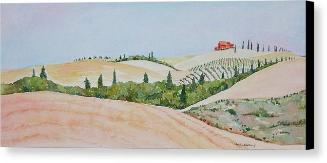 Landscape Canvas Print featuring the painting Tuscan Hillside One by Mary Ellen Mueller Legault