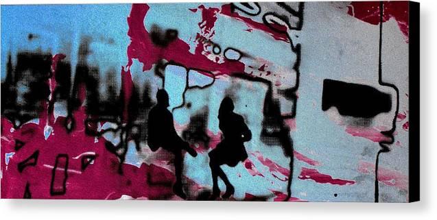 Silhouette Canvas Print featuring the photograph Graffiti - Urban Art Serigrafia by Arte Venezia
