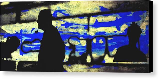 Silhouette Canvas Print featuring the digital art Underground - People Silhouette Serigraphic Arts by Arte Venezia