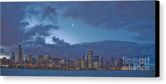 Chicago Canvas Print featuring the photograph Star Over Chicago by Jim Wright