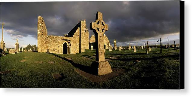 Abbey Canvas Print featuring the photograph Clonmacnoise Monastery, Co Offaly by The Irish Image Collection