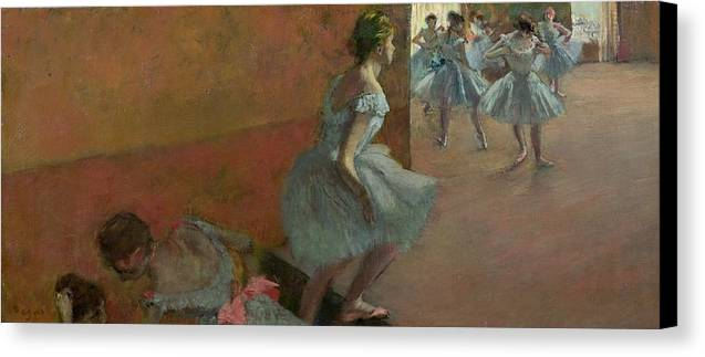 Dancers Canvas Print featuring the painting Dancers Ascending A Staircase by Edgar Degas