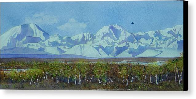 Denali Canvas Print featuring the painting Denali Park Alaska by Teresa Boston
