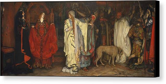 Man Canvas Print featuring the painting Edwin Austin Abbey 1852-1911 King Lear, Cordelias Farewell by Edwin Austin Abbey