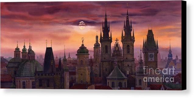 Cityscape Canvas Print featuring the painting Prague City Of Hundres Spiers by Yuriy Shevchuk