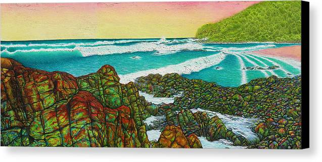 Seascape Canvas Print featuring the painting Third Bay Coolum Beach Triptych by Joe Michelli