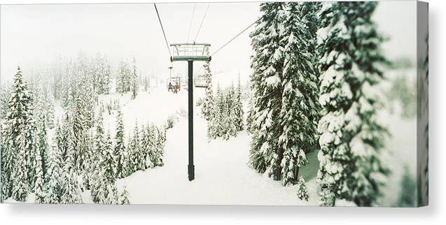 Photography Canvas Print featuring the photograph Chair Lift And Snowy Evergreen Trees by Panoramic Images