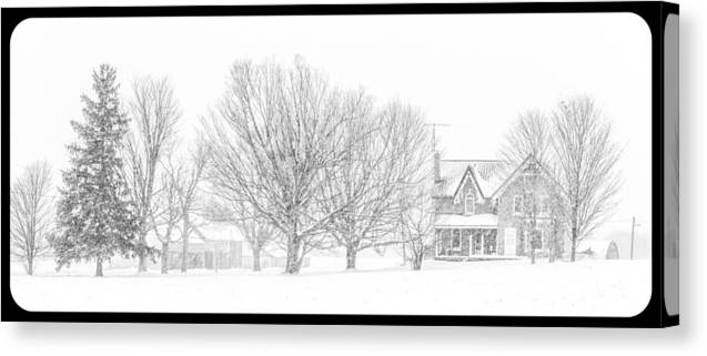 Farmland Canvas Print featuring the photograph Farmhouse In Winter by Nicole Couture-Lord