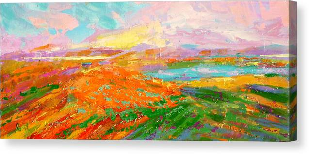 Landscape Canvas Print featuring the painting Heartland Series/ Vineyards by Marilyn Hurst