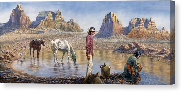 Gregory Perillo Canvas Print featuring the painting Monument Valley by Gregory Perillo
