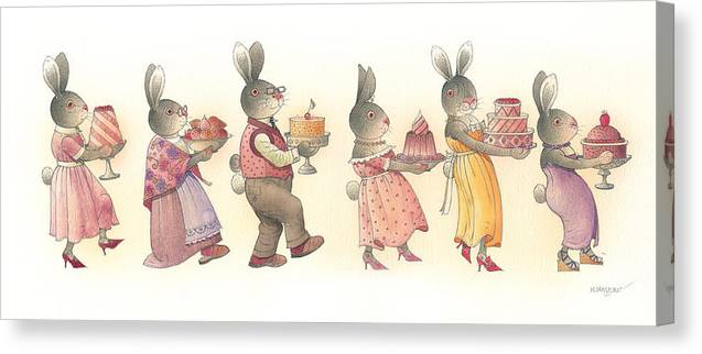 Rabbit Birthday Delicious Animal Holiday Food Canvas Print featuring the painting Rabbit Marcus The Great 11 by Kestutis Kasparavicius