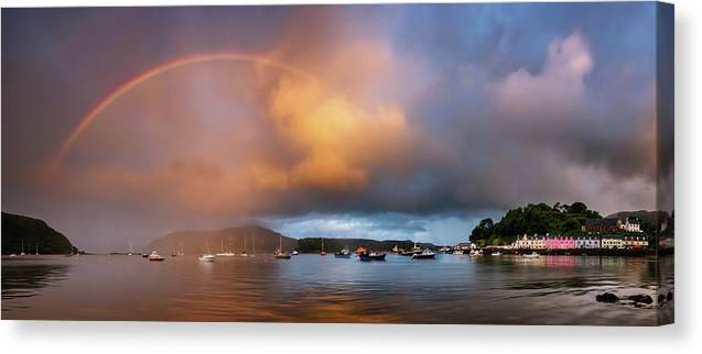 Photography Canvas Print featuring the photograph Rainbow Over Harbor At Sunset, Portree by Panoramic Images