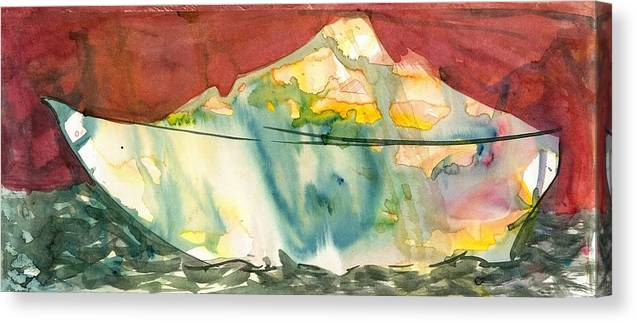 Makarand Joshi Canvas Print featuring the painting Abstract With A Boat by Makarand Joshi
