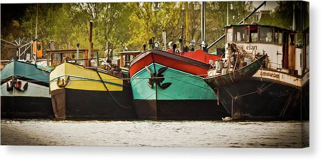 Amsterdam Canvas Print featuring the photograph Canal Boats by Jill Smith