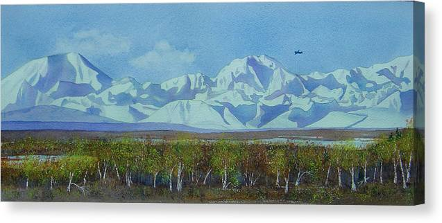 Denali Canvas Print featuring the painting Denali Park Alaska by Teresa Boston