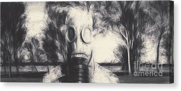 Gas Canvas Print featuring the photograph Vintage Gas Mask Terror by Jorgo Photography - Wall Art Gallery