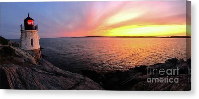Lighthouse Canvas Print featuring the photograph Castle Hill At Sunset by Melissa OGara