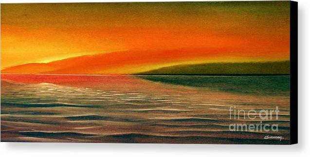 Sunset Canvas Print featuring the painting Sunrise Over The Sea by Christian Simonian