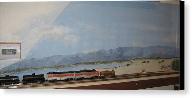 Trains Canvas Print featuring the painting Train Tracks By Salton Sea by Maria Hunt