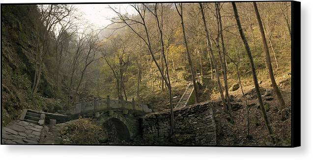 Landscape Trees Trail Bridge Forest Panoramic China Canvas Print featuring the photograph Ancient Mountain Trail by Ty Lee