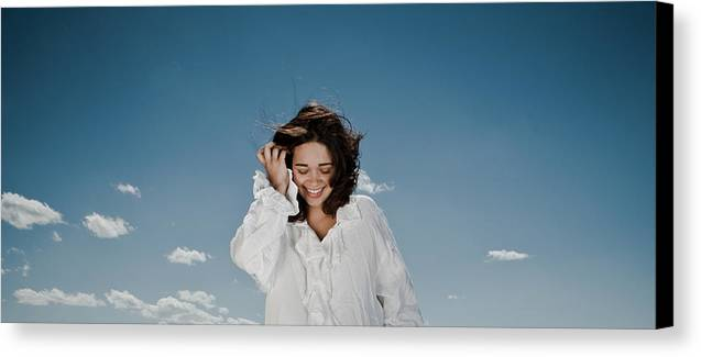 Woman Canvas Print featuring the photograph Laughing Sky by Scott Sawyer