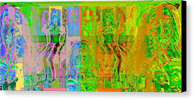 Human Composition Canvas Print featuring the painting Pink Lounge II by Noredin Morgan