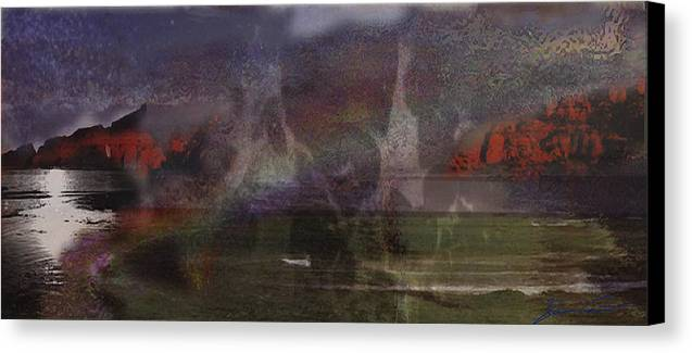 Seascape Canvas Print featuring the digital art When Heaven Emerges From Earth by Xavier Carter