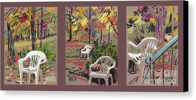 Pastel Canvas Print featuring the drawing White Chairs And Birdhouses 1 by Donald Maier