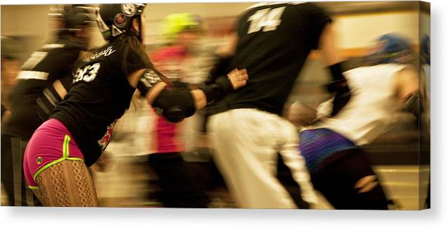 Sports Canvas Print featuring the photograph Roller Derby by Theresa Tahara