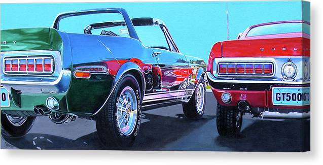 Car Canvas Print featuring the painting Muscle Control by Lynn Masters