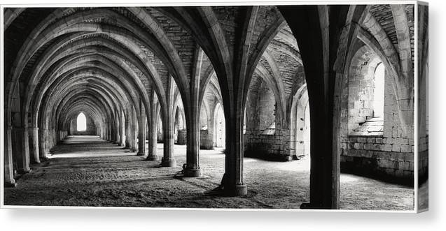 Fountains Abbey Canvas Print featuring the photograph Stone Arches by Michael Hudson