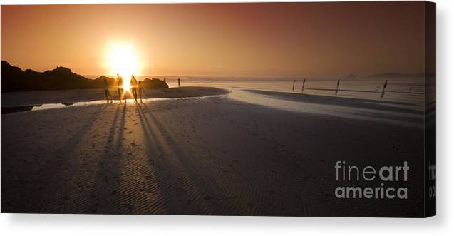 Cornwall Canvas Print featuring the photograph Walking By The Sea by Angel Ciesniarska