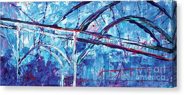 Cleveland Ohio Canvas Print featuring the painting Graffiti Cle by JoAnn DePolo